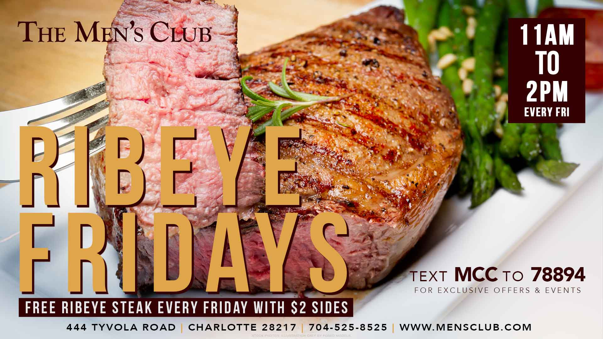 image of delicious ribeye steak for The Men's Club of Charlotte Ribeye Fridays
